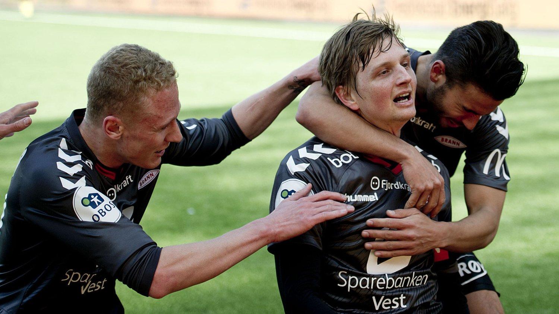 SCORET: Erik Huseklepp sendte Brann opp i ledelsen mot Fredrikstad mandag ettermiddag.