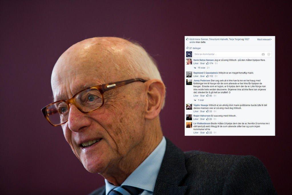 Kåre Willochs forslag om å hjelpe flyktninger i nærområdene får Facebook og kommentarfeltet til å koke.