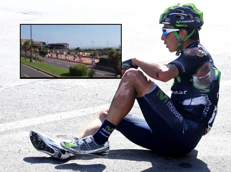 VELT: Dayer Quintana var en av syklistene som veltet på Giroens andre etappe.