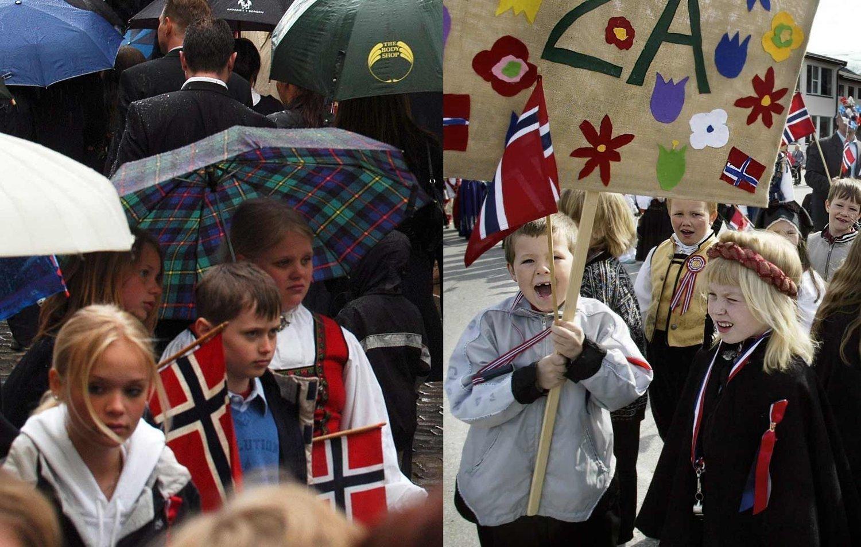 SOL OG REGN: Noen får sol mens andre får regn. Illustrasjonsbildene er hentet fra et regnvåt Bergen og et solvarmt Tromsø i 1995. I år ser været ut til å fordele sol og regn på samme måte som den gang.