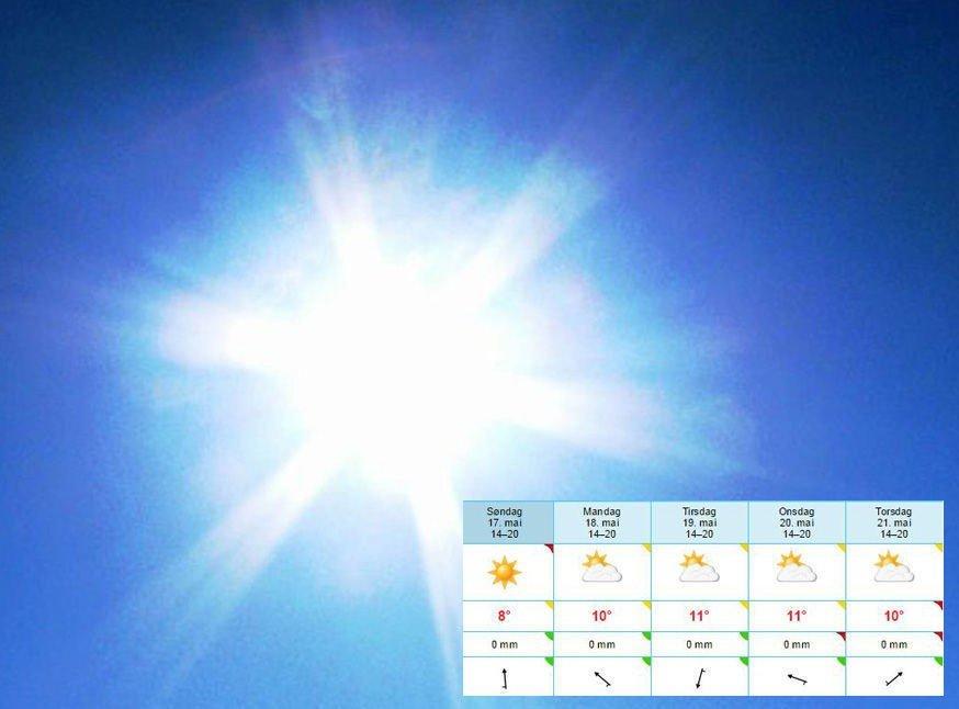 Meteorolog Trond Robertsen mener det kan bli godvær på 17.mai, melder Nordlys. - Høytrykket ute i havet trekker østover og ser ut til å legge seg over Kola-halvøya. Alle som er vokst opp i nord vet hva det betyr, sier han. Og for de som ikke er oppvokst her nord, kan vi forteller at det betyr varme luftstrømmer og strålende vær. - Nå kommer russervarmen! sier han.