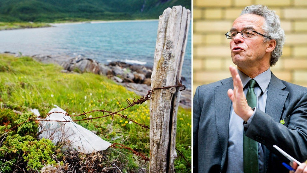 IMOT: Miljøpartiet De Grønne sin eneste stortingsrepresentant, Rasmus Hansson, vil at det skal ryddes ordentlig opp i ulovlig piggtråd som ligger strødd utover i naturen. Foto: Scanpix