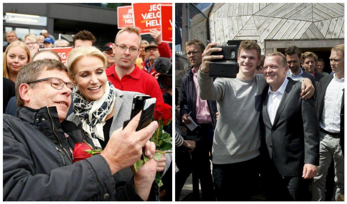 VALGKAMP: Statsminister Helle Thorning-Schmidt fra Socialdemokraterne og utfordrer Lars Løkke Rasmussen fra Venstre i full sving med valgkamp. Torsdag går danskene til valgurnene.