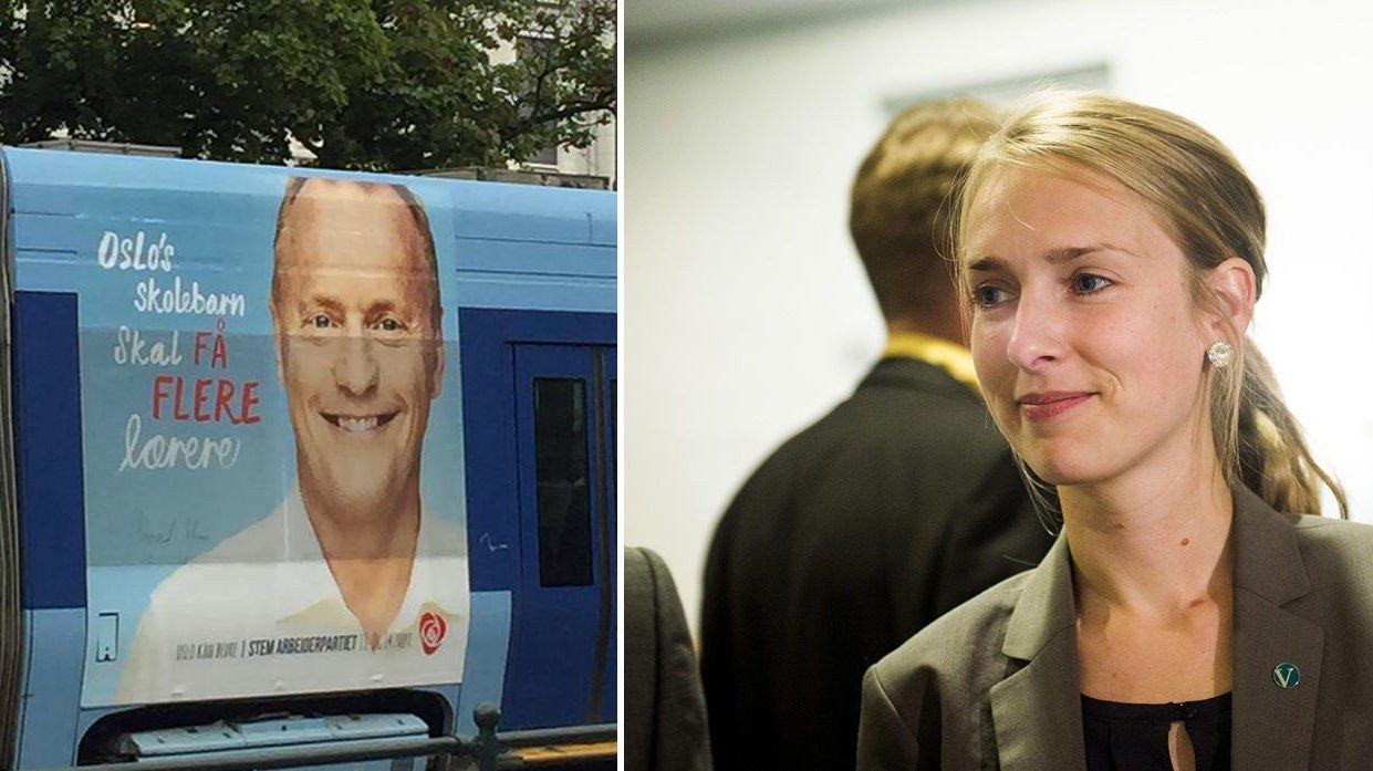 Venstres utdanningspolitiske talsperson, Iselin Nybø, mener Raymond Johansen kanskje ikke er egnet til å styre skolepolitikken med skrivefeilen i denne kampanjen.