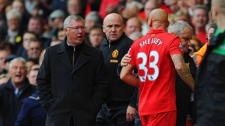 Jonjo Shelvey endte i høylydt krangel med sir Alex Ferguson etter at Liverpool-spilleren ble utvist på Anfield i september 2012.