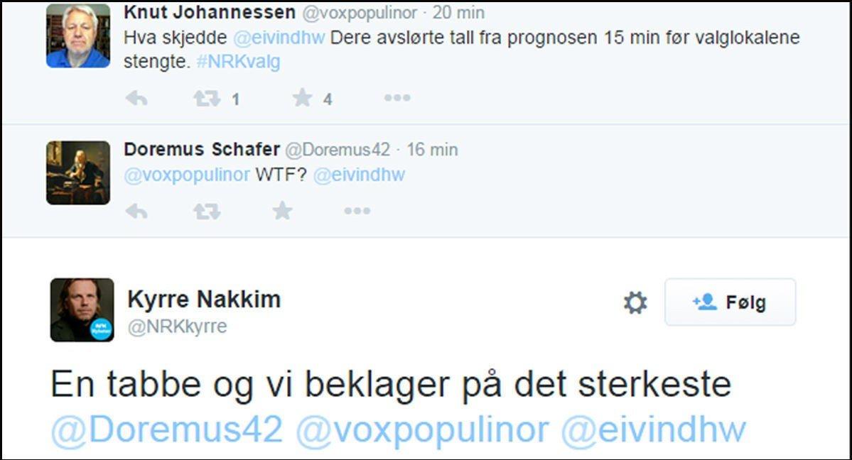 Mange Twitter-brukere reagerte sterkt på NRKs blemme.