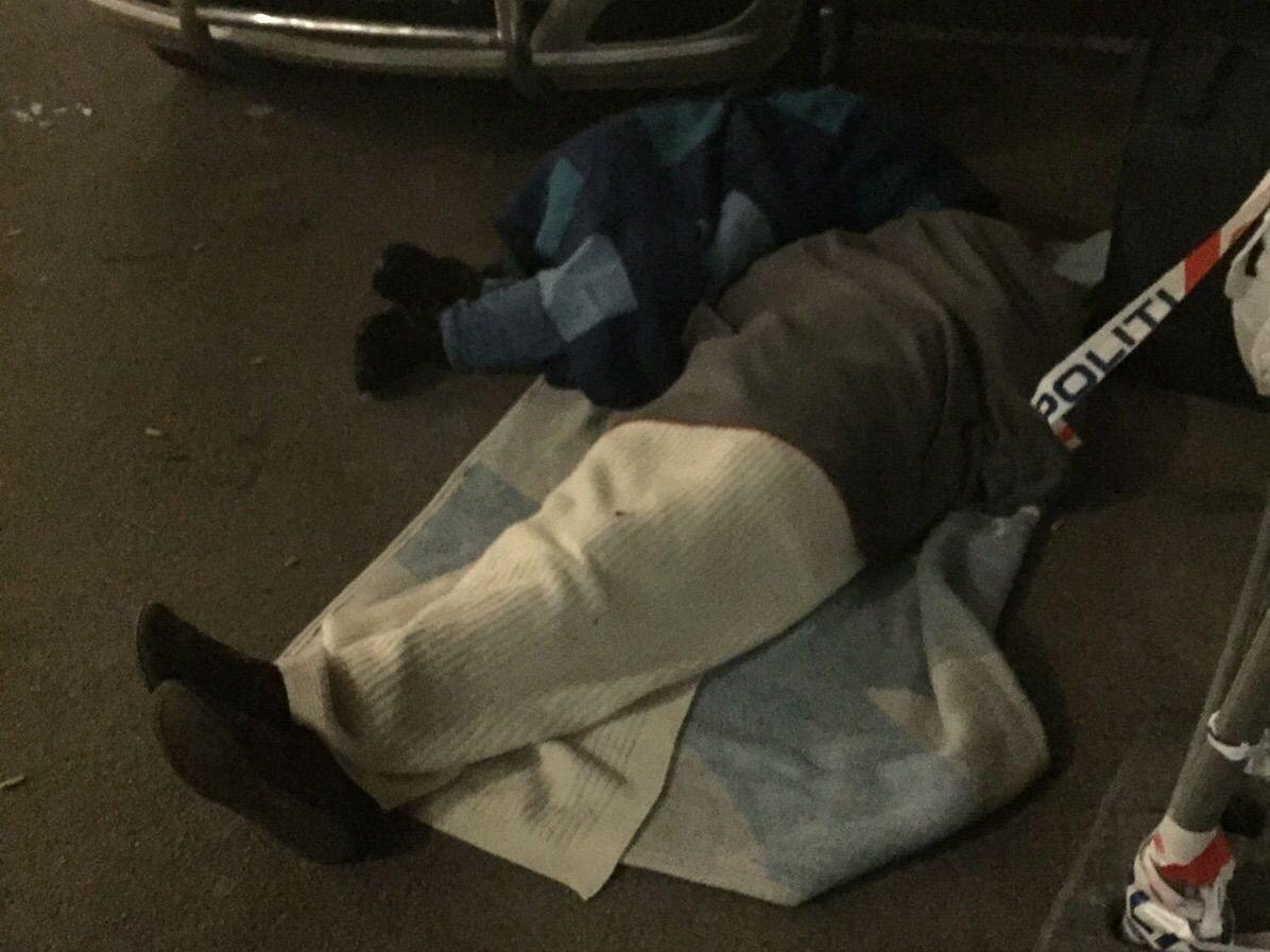 Både voksne og barn måtte å sove ute på asfalten mens de ventet på å bli registrert hos Politiets Utlendingsenhet natt til tirsdag.