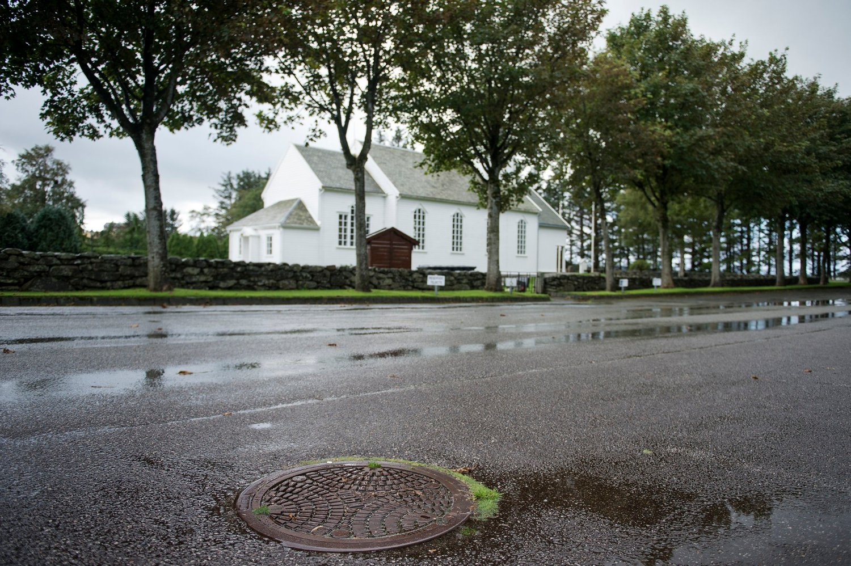 Stavanger 20150919. Tina Jørgensen ble funnet i denne kummen på parkeringsplassen utenfor Bore Kirke i Rogaland.