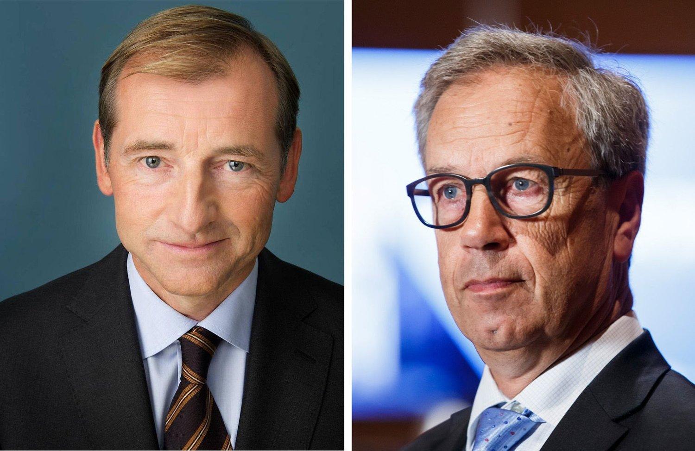 Administrerende direktør i Norges Eiendomsmeglerforening, Carl O. Geving (t.v.), er bekymret over Norges Bank og sentralbanksjef Øystein Olsens beslutning om å sette ned styringsrenten.