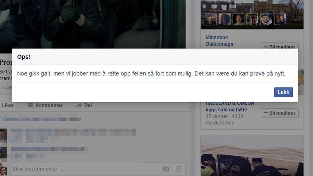 VAR NEDE: Denne feilmeldingen fikk Nettavisens journalist på Facebook ved 18.30-tiden torsdag kveld.