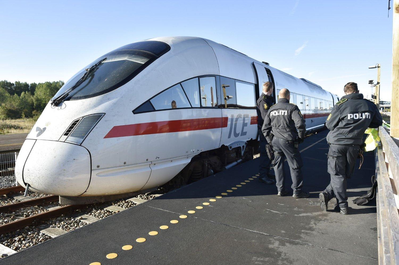 Dansk politi sjekker et tog med flyktninger og migranter om bord i Rødbyhavn tidligere i september.