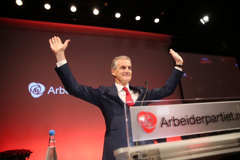 SVÆRT FORNØYD: Så lettet var Ap-leder Jonas Gahr Støre på Folkets Hus under Arbeiderpartiets valgvake 14. september. Han har fortsatt grunn til å smile.
