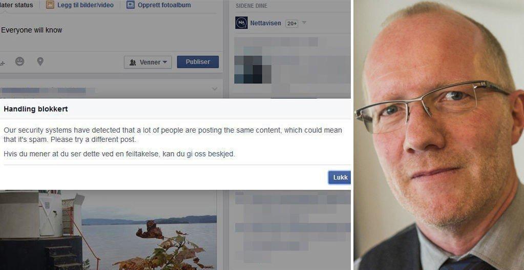 - BEKLAGELIG: Arne Jensen, leder i Norsk redaktørforening, sier det knyttes utfordringer til norske mediers bruk av Facebook for å spre sine saker. Han synes det er beklagelig at Facebook har blokkert Nettavisens intervju med forfatter Halvor Fosli. Foto: Facebook/Scanpix