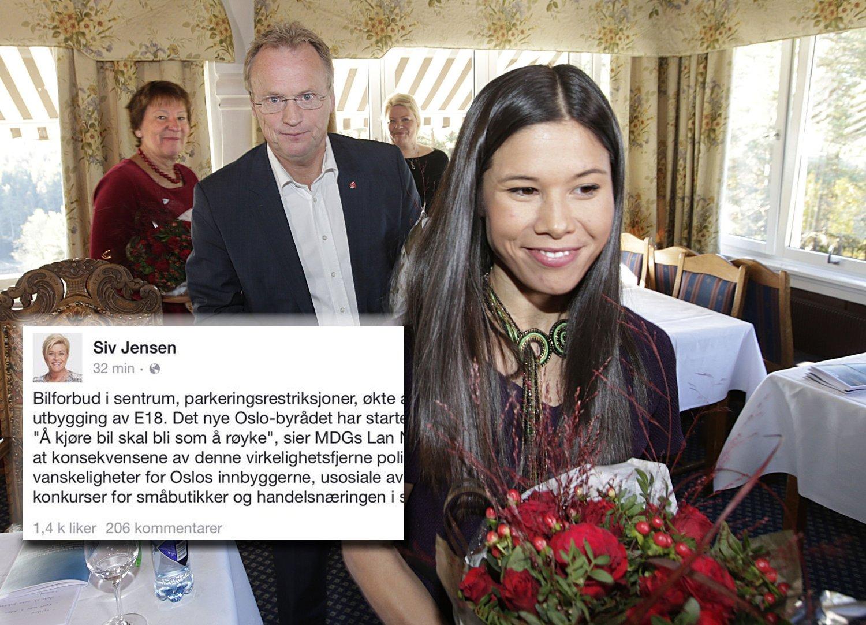 - Jeg frykter at konsekvensene av denne virkelighetsfjerne politikken blir mer kaos og vanskeligheter for Oslos innbyggerne, usosiale avgifter, og mulige konkurser for småbutikker og handelsnæringen i sentrum, skriver Siv Jensen på Facebook som en kommentar til de rødgrønnes byrådserklæring i Oslo.