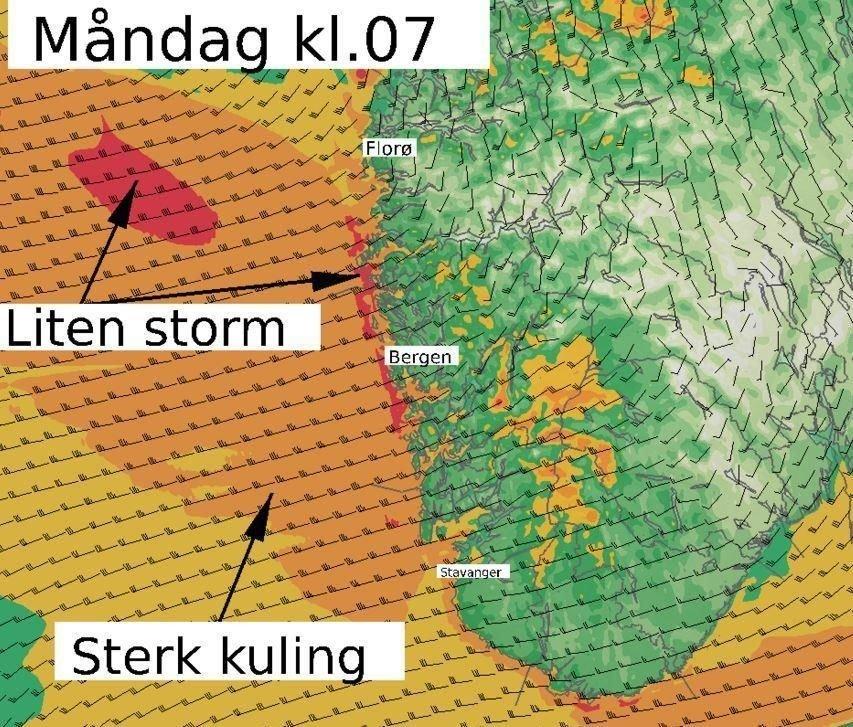 Mandag er det varslet dårlig vær på Vestlandet - Det kan komme så mye som 90 millimeter regn på 24 timer.