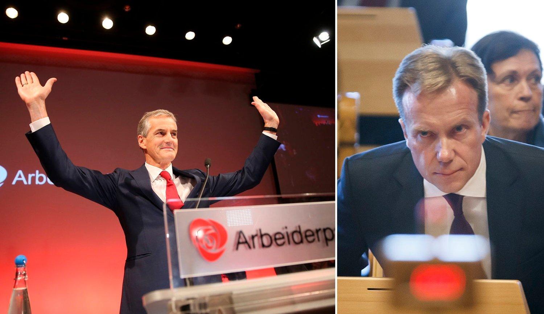 TIL ANGREP PÅ AP-VEDTAK: Utenriksminister Børge Brende (t.h) antyder at Jonas Gahr Støres og Arbeiderpartiets vedtak om å ta imot 10.000 Syria-flyktninger kan ha påvirket flere til å komme til Norge.