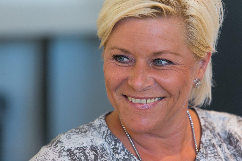 Frp-leder og finansminister Siv Jensen har grunn til å smile av den ferske meningsmålingen der Frp går kraftig fram.