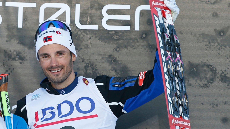 PÅ PALLEN: Hans Christer Holund har gått seg inn på pallen på de to første distansene under den nasjonale åpningen på Beitostølen.