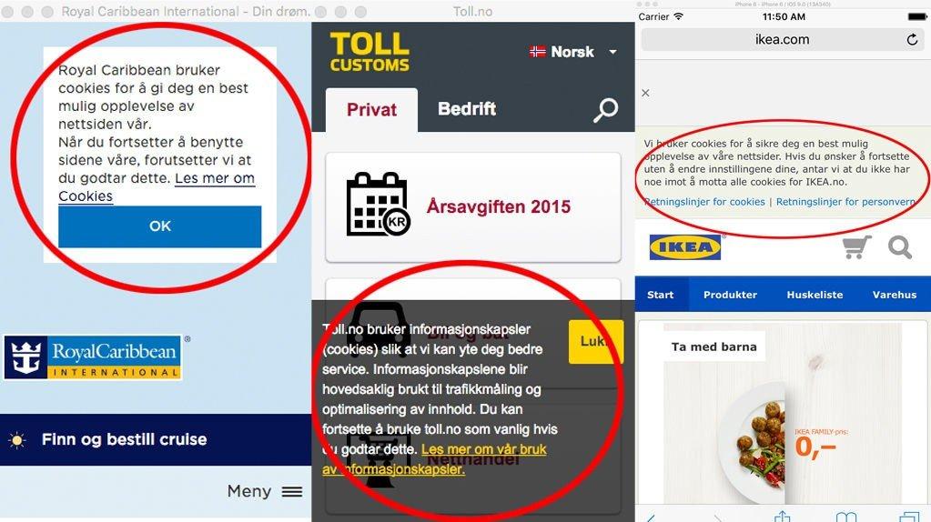 Mange norske nettsteder bruker mye mer plass på advarsler om informasjonskapsler enn det de er forpliktet til.