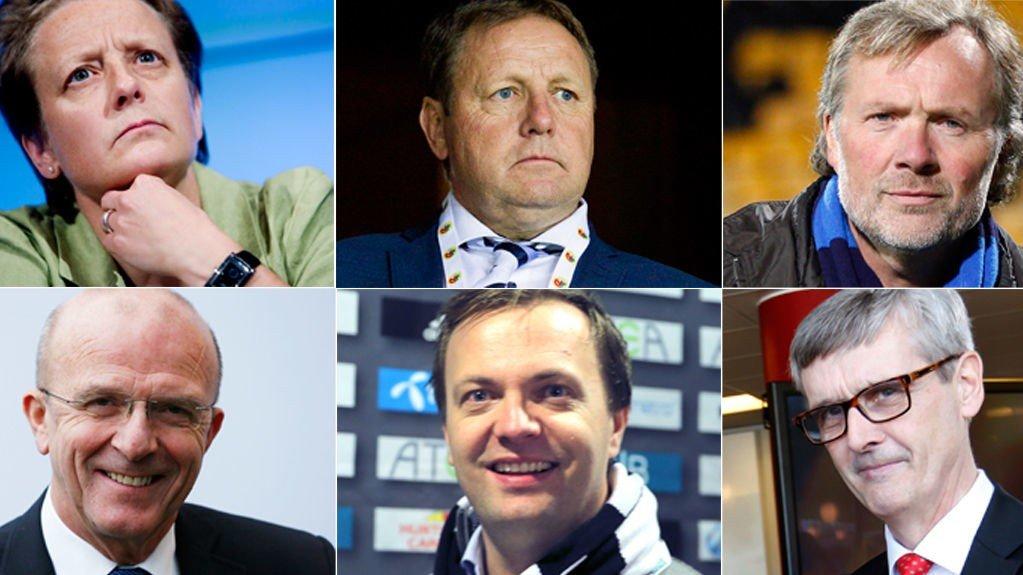 KANDIDATER? Disse er av ulike kilder foreslått som ny NFF-president. Øverst fra venstre: Karen Espelund, Bjarne Berntsen og Erik Loe. Nede fra venstre: Hans Olav Karde, Einar Håndlykken og Hans-Tore Bjerkaas.