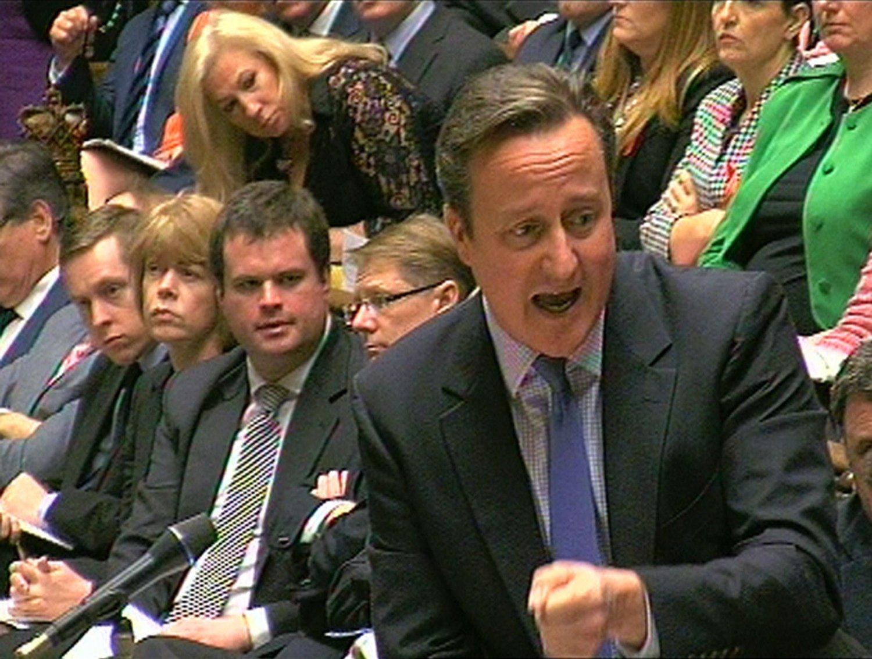 KNALLHARDT MOT IS: Statsminister David Cameron gikk knallhardt ut mot IS og for bombing under debatten i det britiske parlamentet onsdag.
