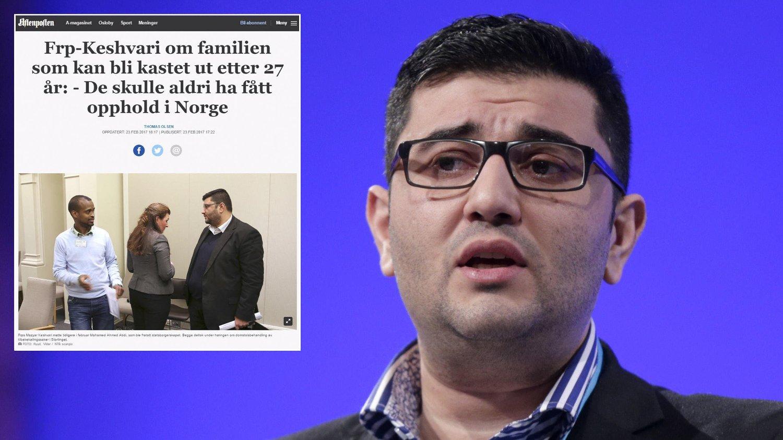 KESHVARI: Mazyar Keshvari er innvandrerpolitiske talsmann i Frp. Han reagerer sterkt på at han ble feilsitert. Innfelt ser du Aftenpostens artikkel før den ble rettet opp.