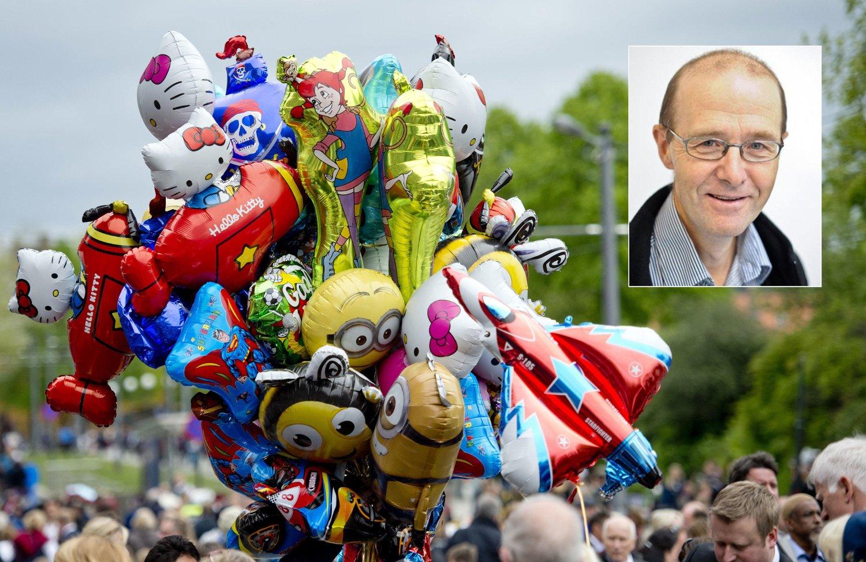 Gassballongene er fylt med helium, en gass kloden sårt trenger mer av. Lege Aslak Bjarne Aslaksen ber oss om ikke å kjøpe heliumballonger. – Helium bør brukes til å undersøke barn med kreft, sier Aslaksen.