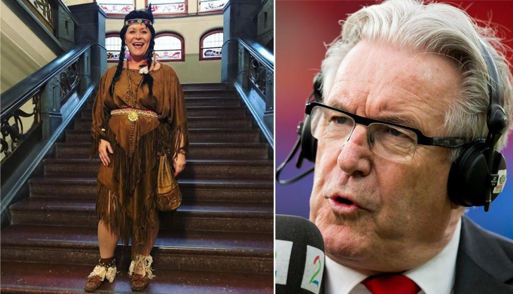 FIKK KRITIKK: Finansminister Siv Jensen (Frp) fikk kritikk for å ha valgt et indianerkostyme under Finansdepartementets høstfest. TV 2-profil Davy Wathne synes ikke det er noe å kritisere. Foto: Instagram/Scanpix