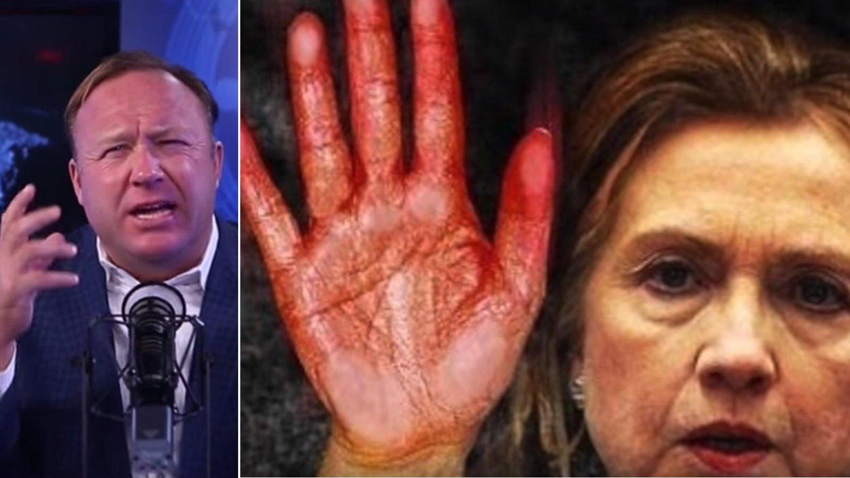 SEX, LØGNER OG VIDEOTAPE: Alex Jones i Infowars (til venstre) sprer elleville konspirasjonsteorier, om blant andre Hillary Clinton.
