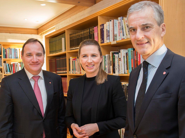 Arbeiderpartiets leder Jonas Gahr Støre avbildet sammen med sine sosialdemokratiske kolleger fra Sverige og Danmark, statsminister Stefan Löfven og partileder Mette Frederiksen.