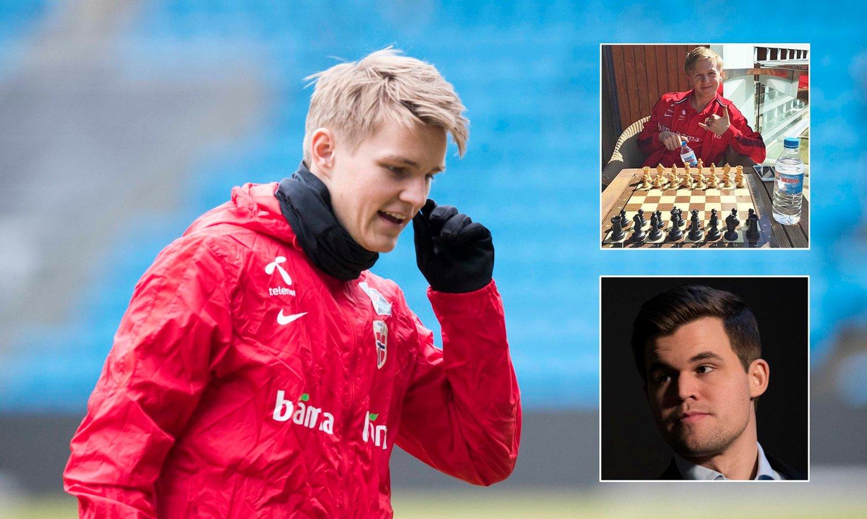 MELDING FRA CARLSEN: Martin Ødegaard og Mats Møller Dæhli (innfelt øverst) fikk melding fra Magnus Carlsen (innfelt nederst) etter å ha gjort samme sjakktabbe som for tre år siden.