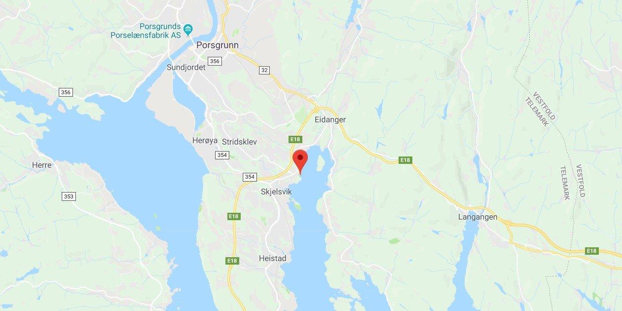MULEBUKTA: det er funnet en død person i Mulebukta i Porsgrunn.