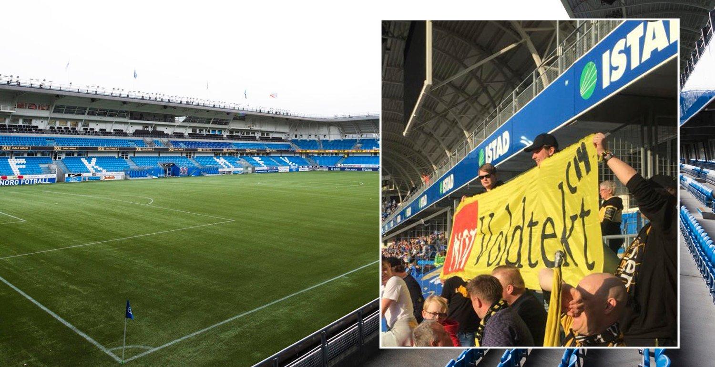 SIST GANG: Lillestrøm-supporterne tok med seg banner på Aker Stadion, som senere ble konfiskert.