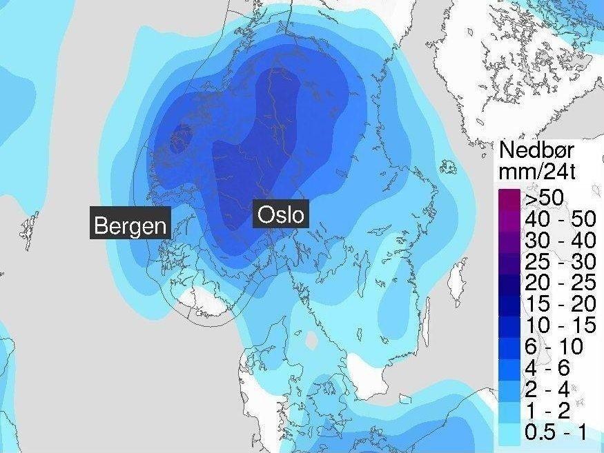 I starten av neste uke venter meteorologene regnbyger inn over Sør-Norge.
