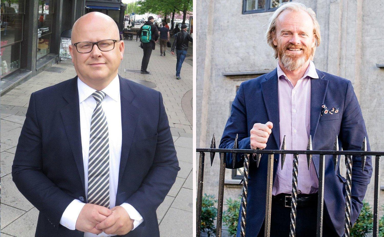 GÅR: Det skal ikke være noen sammenheng mellom at Bård Schumann i Selvaag Eiendom og Ola T. Gjørtz i Møller Eiendom forlater sine toppjobber. Foto: Halvor Ripegutu og Audun Braastad