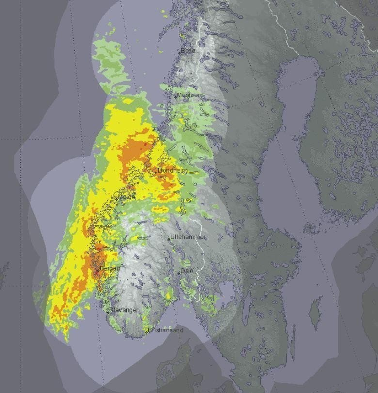 På værradaren på yr.no kan du følge nedbørsfeltene minutt for minutt. Slik var bildet onsdag morgen.