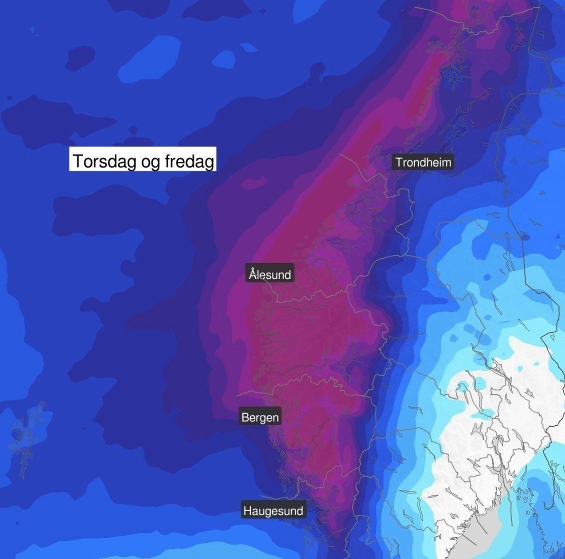 40-60 MILLIMETER: NVE har sendt ut varsel om flom- og jordskredfare på gult nivå for Vestlandet torsdag på grunn av mye nedbør.
