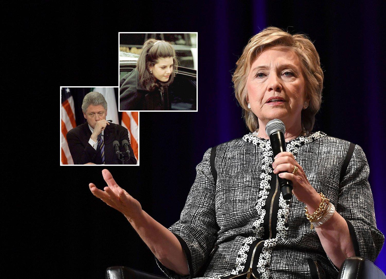IKKE MAKTMISBRUK: Hillary Clinton mener at Bill Clintons (innfelt) affære med Monica Lewinsky (innfelt) på 1990-tallet ikke var maktmisbruk av den daværende amerikanske presidenten.