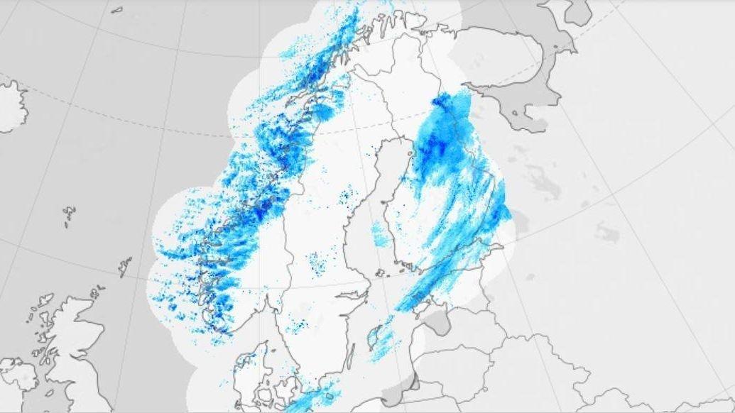 NEDBØR: På værradaren på yr.no kan du se hvor nedbørsfeltene er ventet. Fra mandag ettermiddag til utpå natta ventes det å komme fra 60 til 80 millimeter nedbør på det meste.