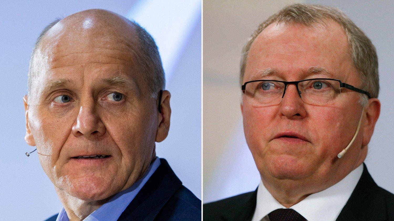 HELT ØVERST: Telenor-sjef Sigve Brekke (til venstre) og Equinor-sjef Eldar Sætre er sjef for Norges henholdsvis andre og tredje største private arbeidsgiver. Equinor har imidlertid klart flest ansatte som jobber i Norge.