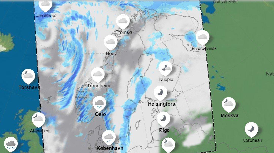 SNØ I VENTE: Torsdag er det ventet at lavtrykket bringer en god del snø sør for Stad. I Oslo-området alene mellom fem og ti centimeter med snø. I indre strøk opptil 20 centimeter.