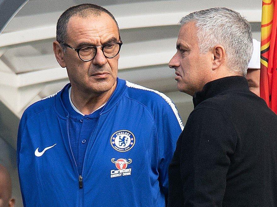 LEGGER SKUMLE PLANER? Både Chelsea-manager Maurizio Sarri og Manchester Uniteds José Mourinho har store navn på innkjøpslista.