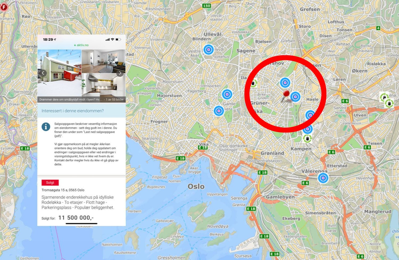 Boligen ligger annonsert som solgt på Finn.no onsdag. Den ligger på populære Rodeløkka tett opp til Grünerløkka på Oslo øst.
