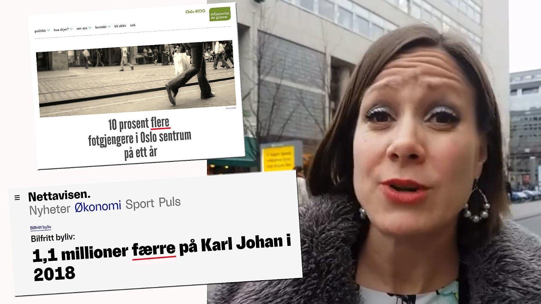 FLERE ELLER FÆRRE: Byråd Hanna Marcussen (MDG) må rydde opp i det feilaktige inntrykket som ble skapt om at det er flere fotgjenger i Oslo sentrum.