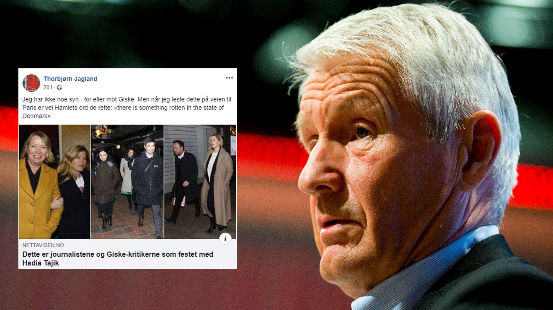 REAGERER: Thorbjørn Jagland mener noe er råttent etter å ha lest om festen til Hadia Tajik og Kristian Skard, der både journalister og politikere var til stede.