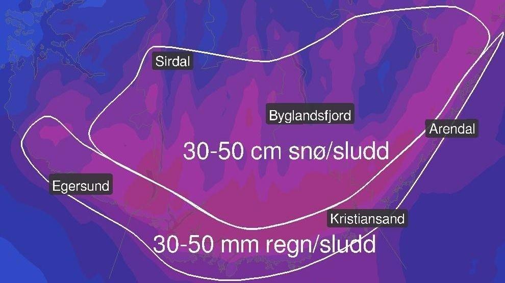 Et lavtrykk er på vei mot Sør-Norge og vil blant annet gi mye nedbør i Agder det neste døgnet. Meteorologene vet ikke sikkert om nedbøren kommer som regn, sludd eller snø.