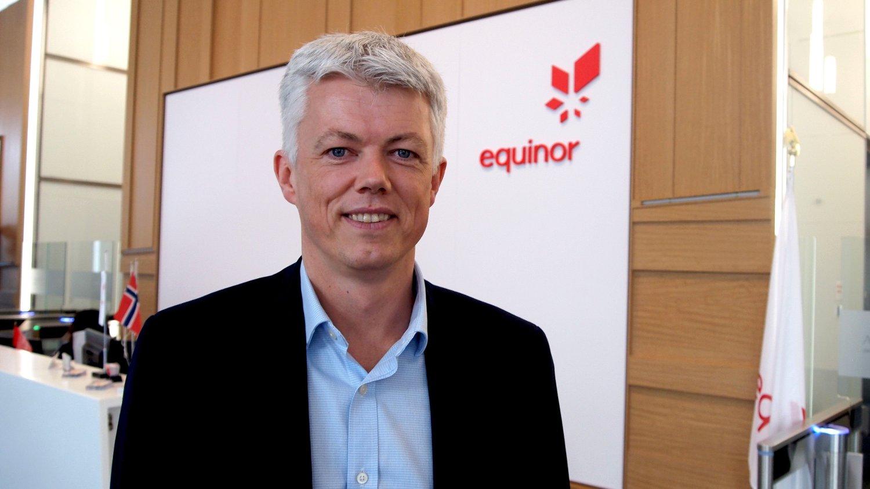 USA-SJEF: Hans Jacob Hegge i resepsjonen til Equinors bygg i Houston i Texas.