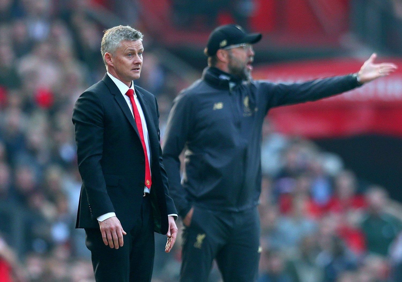 NÅR IKKE OPP? Manchester United-manager Ole Gunnar Solskjær og Liverpool-kollega Jürgen Klopp må trolig se langt etter Champions Leage-trofeet, skal vi tro tipsene fra nordmannens forgjenger.