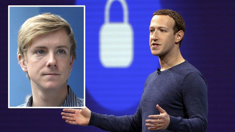 SLUTT PÅ FACEBOOK: Chris Hughes (innfeldt) var med å danne Facebook sammen med Mark Zuckerberg. Han mener at Facbook bør splittes opp i mindre selskaper.