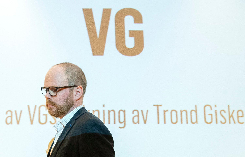 NEDTUR: Sjefredaktør Gard Steiro under presentasjon av VGs egen evaluering av avisas dekning av den såkalte Giske-videosaken.